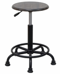 Retro Height Adjustable Steel Stool with Footring and 5 Star Base - Black and Gunnison Gray [13306-FS-SDI]