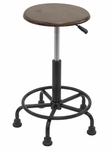 Retro Height Adjustable Steel Stool with Footring and 5 Star Base - Rustic Oak [13307-FS-SDI]