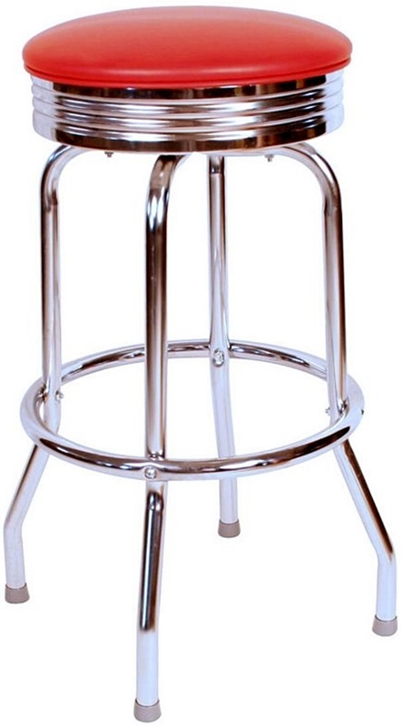 Retro Style Backless 24 H Swivel Bar Stool With Chrome