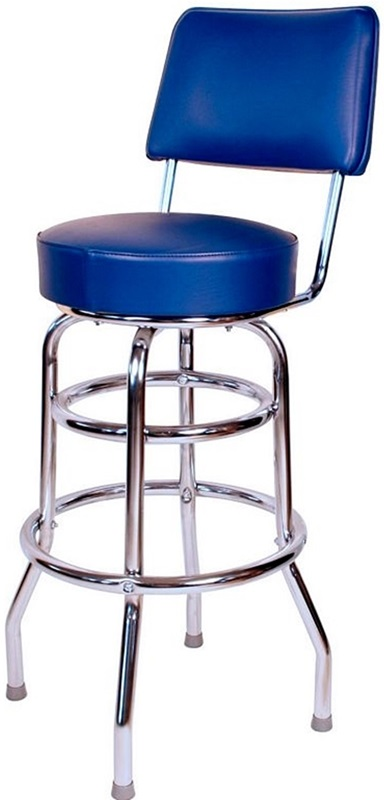 Retro Style Double Ring Chrome Frame 30 Swivel Bar Stool  : retro style double ring chrome frame 30 swivel bar stool with backrest and padded seat blue vinyl 1958blu rsc 5 from www.bizchair.com size 384 x 800 jpeg 53kB