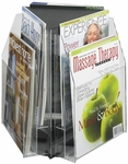 Reveal™ Rotating Tabletop Display Triangle Six Magazine - Clear [5698CL-FS-SAF]