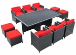 Reversal Outdoor 11 Piece Dining Set in Espresso with Red Cushions [EEI-644-EXP-RED-SET-FS-EEI]