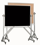 Reversible Free Standing Black Chalkboard and Natural Pebble Grain Cork Combination Board with Aluminum Frame - 42''H x 60''W [ACB4260B-AA]