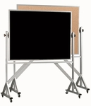 Reversible Free Standing Black Chalkboard/Natural Pebble Grain Cork Combination Board with Aluminum Frame 48''H x 72''W [ACB4872B-AA]