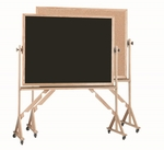 Reversible Free Standing Black Chalkboard and Natural Pebble Grain Cork Combination Board with Red Oak Frame - 42''H x 60''W [RBC4260B-AA]