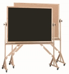 Reversible Free Standing Black Chalkboard and Natural Pebble Grain Cork Combination Board with Red Oak Frame - 48''H x 72''W [RBC4872B-AA]