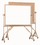 Reversible Free Standing Combination Markerboard and Natural Pebble Grain Corkboard with Wood Frame - 36''H x 48''W [WRBC3648-AA]