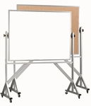Reversible Free Standing Combination Markerboard and Natural Pebble Grain Corkboard with Aluminum Frame - 48''H x 72''W [WACB4872-AA]