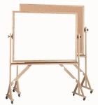 Reversible Free Standing Combination Markerboard and Natural Pebble Grain Corkboard with Wood Frame - 48''H x 72''W [WRBC4872-AA]