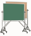 Reversible Free Standing Green Chalkboard and Natural Pebble Grain Cork Combination Board with Aluminum Frame - 48''H x 72''W [ACB4872G-AA]