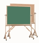 Reversible Free Standing Green Chalkboard/Natural Pebble Grain Cork Combination Board with Red Oak Frame 36''H x 48''W [RBC3648G-AA]