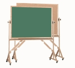 Reversible Free Standing Green Chalkboard/Natural Pebble Grain Cork Combination Board with Red Oak Frame 42''H x 60''W [RBC4260G-AA]