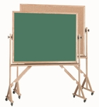 Reversible Free Standing Green Chalkboard/Natural Pebble Grain Cork Combination Board with Red Oak Frame 48''H x 72''W [RBC4872G-AA]