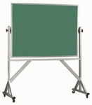 Reversible Free Standing Green Porcelain Chalkboard with Aluminum Frame - 36''H x 48''W [ARS3648G-AA]