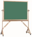 Reversible Free Standing Green Porcelain Chalkboard with Red Oak Frame - 36''H x 48''W [RS3648G-AA]