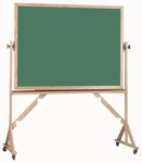 Reversible Free Standing Green Porcelain Chalkboard with Red Oak Frame 42''H x 60''W [RS4260G-AA]