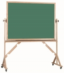 Reversible Free Standing Green Porcelain Chalkboard with Red Oak Frame - 48''H x 72''W [RS4872G-AA]
