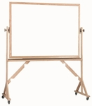 Reversible Free Standing Melamine White Marker Board with Red Oak Frame - 36''H x 48''W [WRC3648-AA]