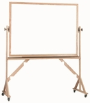 Reversible Free Standing Melamine White Marker Board with Red Oak Frame - 42''H x 60''W [WRC4260-AA]