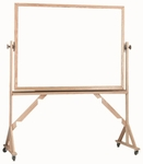 Reversible Free Standing Melamine White Marker Board with Red Oak Frame - 48''H x 72''W [WRC4872-AA]