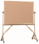 Reversible Free Standing Natural Pebble Grain Cork Bulletin Board with Red Oak Frame - 42''H x 60''W [RBB4260-AA]