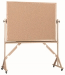 Reversible Free Standing Natural Pebble Grain Cork Bulletin Board with Red Oak Frame - 48''H x 72''W [RBB4872-AA]