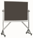 Reversible Free Standing Slate Porcelain Chalkboard with Aluminum Frame - 36''H x 48''W [ARS3648S-AA]