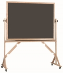Reversible Free Standing Slate Porcelain Chalkboard with Red Oak Frame - 36''H x 48''W [RS3648S-AA]