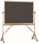 Reversible Free Standing Slate Porcelain Chalkboard with Red Oak Frame - 42''H x 60''W [RS4260S-AA]