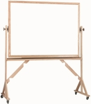 Reversible Free Standing White Porcelain Marker board with Red Oak Board 36''H x 48''W [WRS3648-AA]