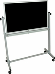 Doubled Sided Aluminum Frame Whiteboard/Chalkboard with Marker Tray - 39''W x 20.5''D x 53.5''H [MB3624-FS-LUX]