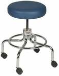 Revolving Stool Black with Nylon Casters - 18'' - 24.5''H [HAU-2116-FS-HAUS]