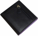 RFID Blocking Women's Wallet - Top Grain Nappa Leather - Black and Purple