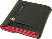 RFID Blocking Women's Wallet - Top Grain Nappa Leather - Black and Red