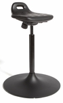 Rhino Sit and Stand Stool with Trumpet Base - Black [STOH1-FS-CRA]