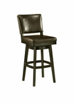 Richfield 30'' Swivel Barstool - Feher Black Finish and Leather Brown Upholstery [QLRC219227867-FS-PSTL]