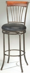 Riley Wood and Metal Spoke 30'' Bar Height Stool with Black Vinyl Swivel Seat - Black Gold [4995-830H-FS-HILL]