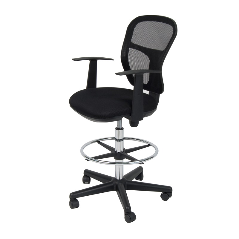 Riviera 360 Swivel Drafting Chair With Height Adjustable Chrome Footring And