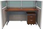 Rize Panel Privacy Station Unit 47'' H x 60'' W Translucent Polycarbonate Top - Beige Vinyl with Cherry Finish [T1X1-4760-PGBC-MFO]