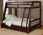 Rockdale Wood Full Bunk Bed with Twin Top Bunk and Under Bed Storage Drawer - Espresso [1668BB-FS-HILL]