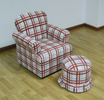 Kids Rolled Arm Chair With Round Ottoman - Plaid [K3186-K3187-A354-FS-DCON]