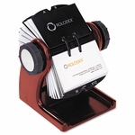 Rolodex Wood Tones Open Rotary Business Card File Holds 400 2 5/8''W x 4''D Cards,Mahogany [ROL1734242-FS-NAT]