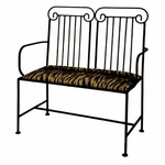 Roman Column 40''W Wrought Iron Loveseat Bench with Arms and Upholstered Seat [GMC-LS10ARM-RC-FS-GCM]
