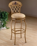 Rooster Metal 26.5'' Counter Height Swivel Stool with Buckskin Faux Suede Upholstered Seat - Country Beige [41344-FS-HILL]