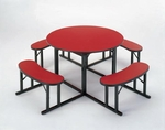 Customizable Round Backless Break Room Table with 4 Built in Benches - 78''Dia. x 29''H [NBR-48-BKS]