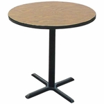 Laminate Top Round Cafe Table with 42''H Cast Iron X-Base - 24'' Diameter [BXB24R-CRL]