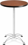 24'' Round Cafe Table - Cherry with Chrome Base [CCLT24RD-CHY-MFO]