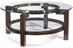 Round Cocktail Table w/ Glass Top [T1705-120EC-FS-BSTM]