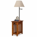 Favorite Finds 12''W x 24''H Mission Style Wood Chairside Table with Built In Swing Arm Lamp - Medium Oak [10028-FS-LCK]