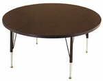 Customizable Round Non-Folding Adjustable Height Activity Table with Chrome Inserts - 23'' - 30''H [SA-36-C-BKS]